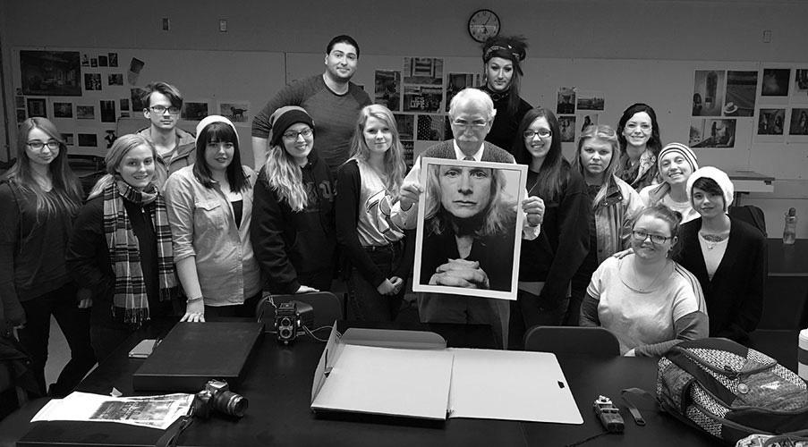 Photo from Edinboro University of Pennsylvania, students with David Moog